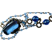 Vintage Art Deco Blue Glass Crystal Necklace