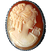 Vintage Carved Shell Cameo in Sterling Silver, Signed