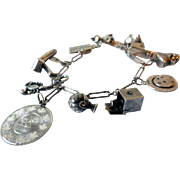 Vintage Charm Bracelet, Sterling Silver, Mid-20th Century