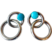 Vintage Sterling Silver, Signed Earrings, Turquoise