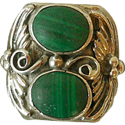 Vintage Sterling Silver and Malachite Man's Ring, Native American
