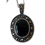 Vintage Sterling Silver, Marcasite, and Onyx Pendant Necklace