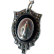 Vintage ReligiousMadonna Pendant, Necklace, Sterling, Onyx, Marcasites