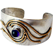 Vintage Modernist Mixed Metals, Amethyst, Sterling Silver Cuff Bracelet