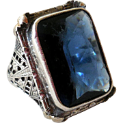 Vintage Sterling Silver Filigree Ring, Blue Synthetic Stone