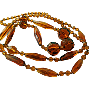 Vintage Faceted Amber Glass Necklace, Ca 1920s/30s