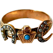 Antique 14K Gold Ring, Seed Pearls, Turquoise, Unusual Symbols
