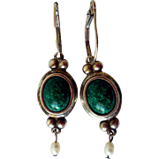 Vintage Turquoise Cabochon, Fresh Water Pearl Silver Earrings