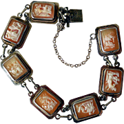 Vintage Sterling Silver and Carved Shell Cameo Bracelet, 7 Days