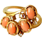 Vintage 14K Gold, Angel Skin Coral and Diamonds Estate Ring