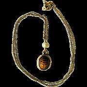 Vintage Tiger Eye Scarab, Cultured Pearl, 14K Gold-Filled Necklace