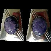 Vintage Native American Navajo Sterling Silver & Charoite Earrings