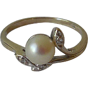 Vintage 14K White Gold, Diamonds, and Cultured Pearl Ring