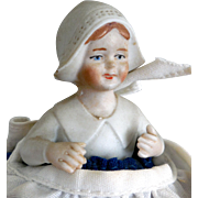 "Vintage Bisque ""Little Dutch Girl"" Pincushion Doll"