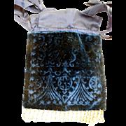 Vintage Lady's Elegant Blue Velvet Draw-String Hand Bag, Cut Steel Beads