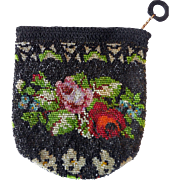 Vintage Hand-Made Crocheted and Beaded Lady's Bag