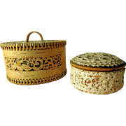 Vintage Folk Art Birch Bark Trinket Keepsake Boxes, Two