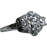 Vintage Art Deco Platinum Diamond Engagement Ring by Birks - 1.40ct.