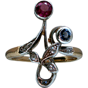 Antique Art Nouveau 18K Yellow Gold/ Platinum Sapphire, Ruby, and Diamond Ring.