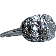 Beautiful Vintage Art Deco 14K White Gold Diamond Engagement Ring - 1.39ct.
