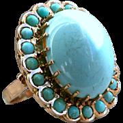 Massive Retro Vintage 14K Rose Gold Turquoise Ring.