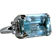 Vintage 14K White Gold Hugh Retro Aquamarine And Diamond Ring - 10.06cttw.