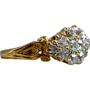 Fabulous Antique 15K Yellow Gold Diamond Cluster Engagement Ring - 1.20cttw.
