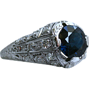 Stunning Platinum Diamond and Sapphire Engagement Ring - 3.70cttw.