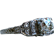 Vintage 18K White Gold Diamond Ring Engagement Ring - 1.70cttw.