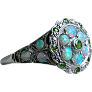 Gorgeous Vintage Opal and Tsavorite Platinum Ring Engagement Ring.