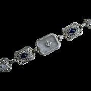 Gorgeous Vintage Camphor Glass Filigree Bracelet, 14K White Gold with Diamond and Sapphires.
