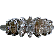 Beautiful Vintage 14K White Gold Wedding Band with Marquise Diamonds - 1.00cttw.