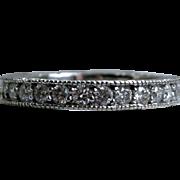 Stunning Vintage Etched 14K White Gold Pave Diamond Wedding Band - 1.32ct.