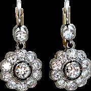 Beautiful Vintage 18K White/ Yellow Gold Diamond Cluster Earrings - 2.20ctw.