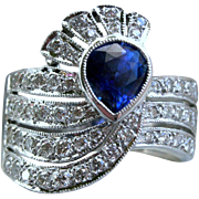 Stunning Vintage Art Deco 18K White Gold Diamond and Sapphire Ring - 2.10cttw.