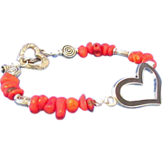 SOLD Red Bamboo Chip Bracelet with Black Heart Center