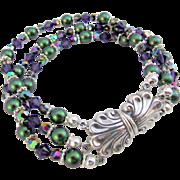 Three Strand Green and Purple Swarovski Crystal Bracelet