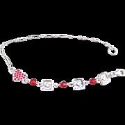 Sterling Silver and Siam Swarovski Crystal Bracelet