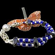 Double Strand Deep Blue Austrian Crystal and Swarovski Crystal Pearl Bracelet