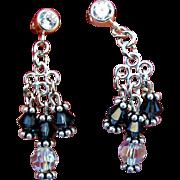 SALE Montana Sapphire and Crystal Swarovski Crystal Chandelier Earrings