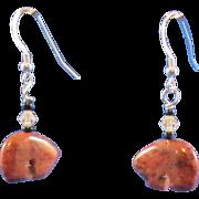 SOLD Mahogany Obsidian Zuni-style Bear Earrings