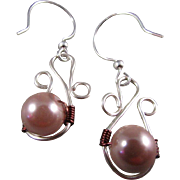 REDUCED Wire Wrapped Mauve Glass Pearl on a Flourished Silver Wire Earrings