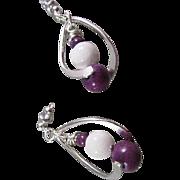 SOLD Purple Howlite and White Jade IcePick Earrings