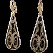 SOLD Gold-plated Teardrop Enamel Earrings