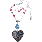 A Metal Heart and Agate Druzy Pendant with Swarovski Crystal Necklace