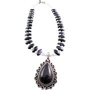 SOLD Blue Goldstone Pendant and Oval Gemstone Necklace
