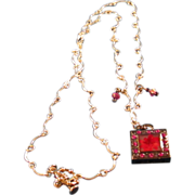 SOLD Fuchsia Square Rhinestone Pendant Riding the Waves of Chain Necklace