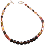 Watermelon and Black Tourmaline Gemstones with Round Onyx Choker Necklace