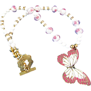 Mauve & White Brass Butterfly with Mashan Jade & Pink Lampwork Roses in Glass