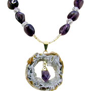 Purple Amethyst Chunk Gemstones with an Amethyst and Geode Slice Pendant